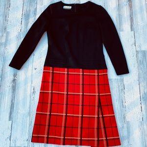 Vintage 60s 70s Mod Plaid Skirt Mini Dress